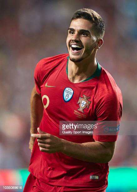 Andre Silva of Portugal celebrates after scoring his team's first goal during the UEFA Nations League A group three match between Portugal and Italy...