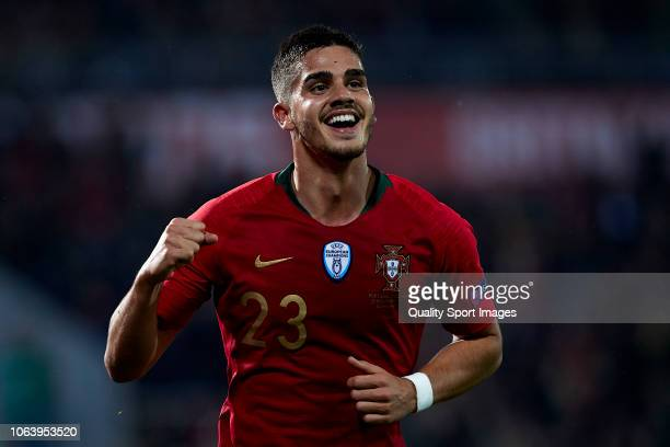 Andre Silva of Portugal celebrates after scoring his team's first goal during the UEFA Nations League A group three match between Portugal and Poland...