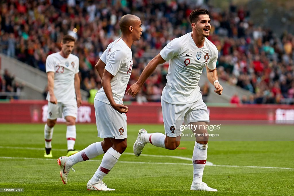 Andre Silva of Portugal celebrates after scoring his team's first goal during the friendly match of preparation for FIFA 2018 World Cup between Portugal and Tunisia at the Estadio AXA on May 28, 2018 in Braga, Portugal.