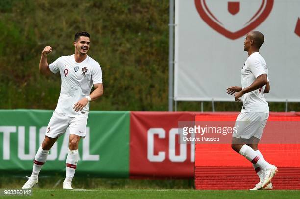 Andre Silva of Portugal celebrates after scoring the first goal during the international friendly football match against Portugal and Tunisia at the...