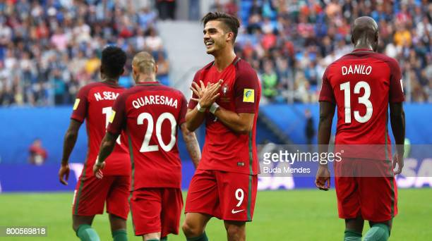 Andre Silva of Portugal celebrates scoring his sides third goal with his Portugal team mates during the FIFA Confederations Cup Russia 2017 Group A...