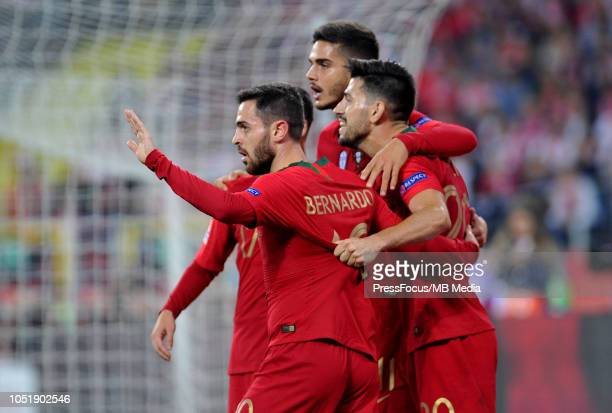Andre Silva of Portugal celebrates with teammates after scoring a goal during the UEFA Nations League A group three match between Poland and Portugal...