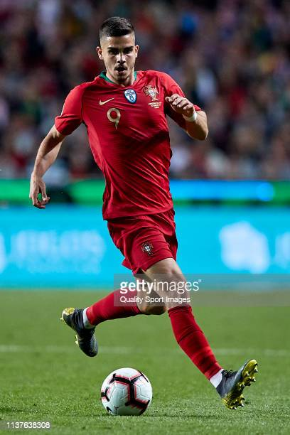 Andre Silva of Portugal in action during the 2020 UEFA European Championships group B qualifying match between Portugal and Ukraine at Estadio do...