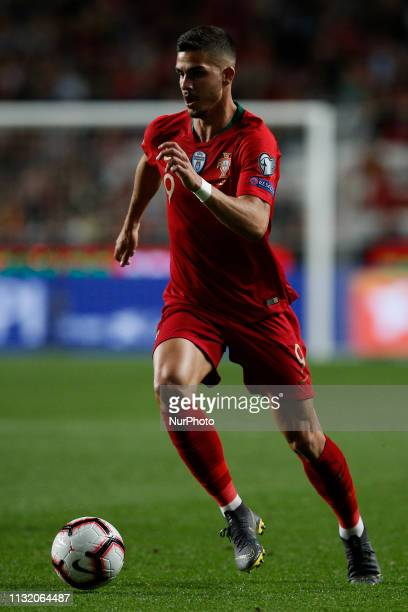 Andre Silva of Portugal in action during the Euro 2020 qualifying match football match between Portugal vs Ukraine in Lisbon on March 22 2019