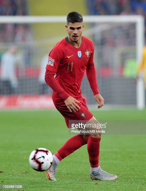 Andre Silva of Portugal in action during the UEFA Nations League A group three match between Poland and Portugal at Silesian Stadium on October 11...