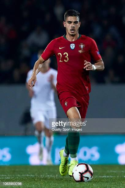 Andre Silva of Portugal in action during the UEFA Nations League A group three match between Portugal and Poland at Estadio Don Afonso Henriques on...