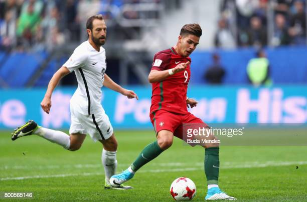 Andre Silva of Portugal is put under pressure from Andrew Durante of New Zealand during the FIFA Confederations Cup Russia 2017 Group A match between...