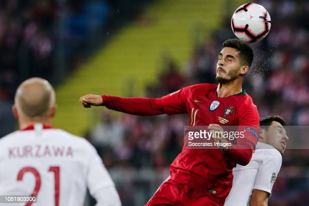 Andre Silva of Portugal Jan Bednarek of Poland during the UEFA Nations league match between Poland v Portugal at the Slaski Stadium on October 11...