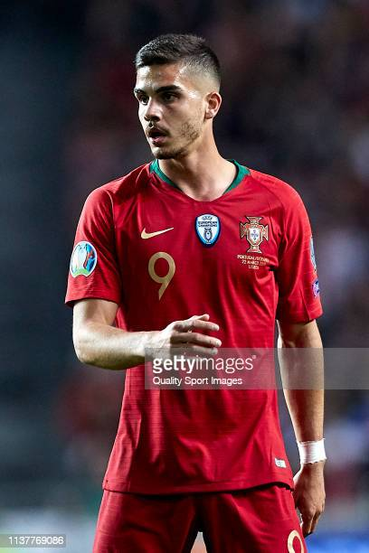 Andre Silva of Portugal looks on during the 2020 UEFA European Championships group B qualifying match between Portugal and Ukraine at Estadio do...