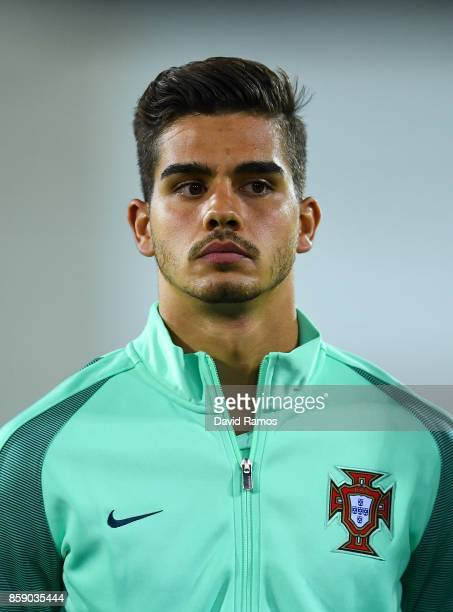 Andre Silva of Portugal looks on prior to the FIFA 2018 World Cup Qualifier between Andorra and Portugal at the Estadi Nacional on October 7 2017 in...