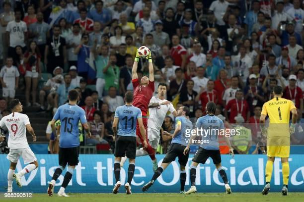 Andre Silva of Portugal Matias Vecino of Uruguay Cristhian Stuani of Uruguay Uruguay goalkeeper Fernando Muslera Jose Fonte of Portugal Diego Godin...