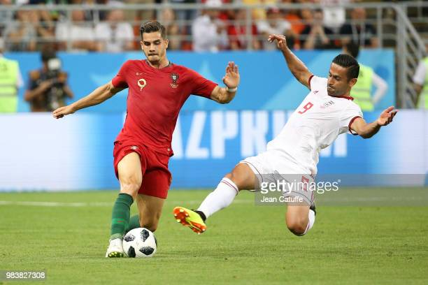 Andre Silva of Portugal Omid Ebrahimi of Iran during the 2018 FIFA World Cup Russia group B match between Iran and Portugal at Mordovia Arena on June...