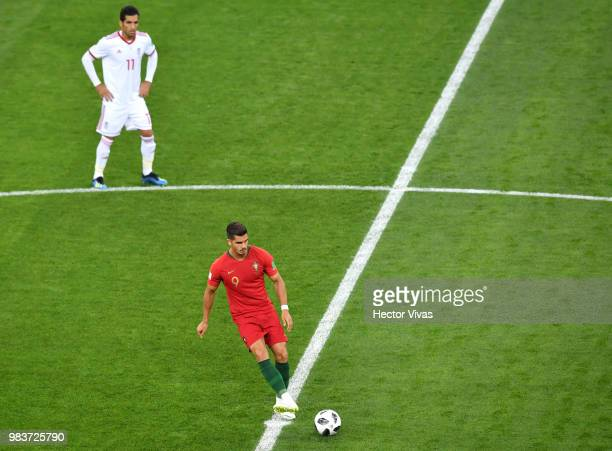 Andre Silva of Portugal passes the ball at kick off during the 2018 FIFA World Cup Russia group B match between Iran and Portugal at Mordovia Arena...