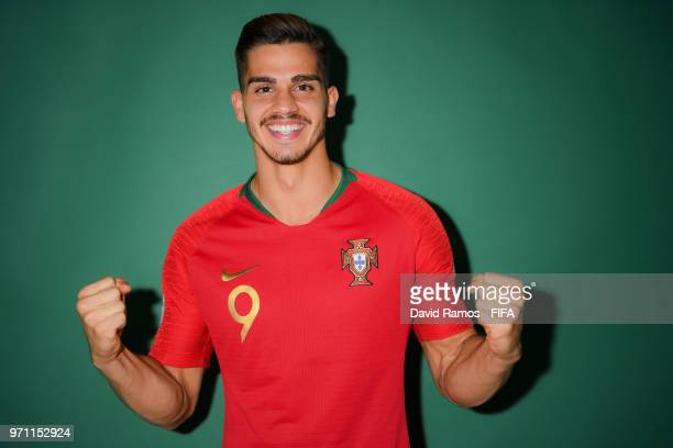 Andre Silva of Portugal poses during the official FIFA World Cup 2018 portrait session at Saturn Training Base on June 10 2018 in Moscow Russia