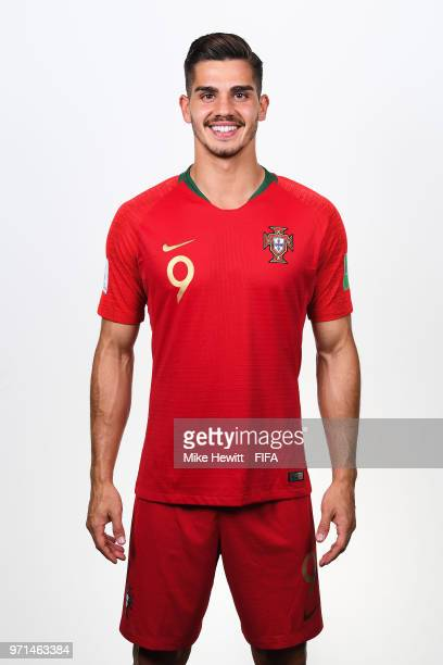 Andre Silva of Portugal poses for a portrait during the official FIFA World Cup 2018 portrait session at the Saturn training base on June 10 2018 in...
