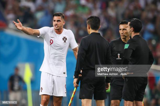 Andre Silva of Portugal reacts at the end of the 2018 FIFA World Cup Russia Round of 16 match between Uruguay and Portugal at Fisht Stadium on June...