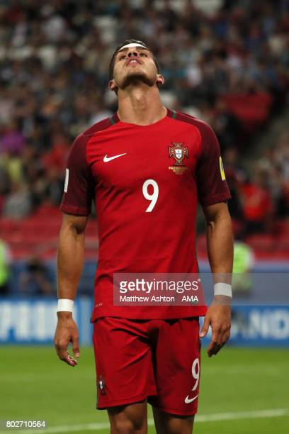Andre Silva of Portugal reacts during the FIFA Confederations Cup Russia 2017 SemiFinal match between Portugal and Chile at Kazan Arena on June 28...