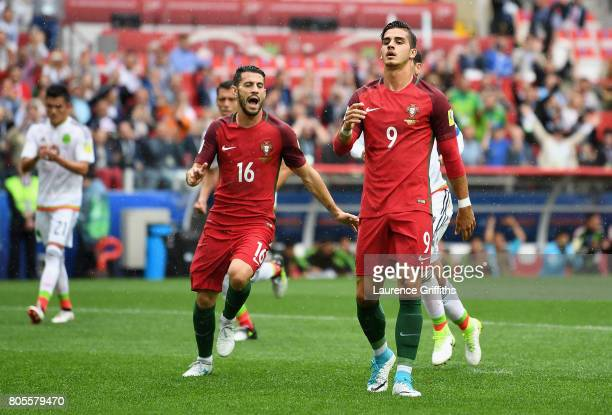Andre Silva of Portugal reacts to having his penalty saved during the FIFA Confederations Cup Russia 2017 PlayOff for Third Place between Portugal...
