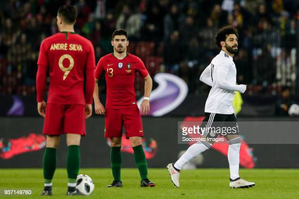 Andre Silva of Portugal Ruben Neves of Portugal disappointed after the 10 Mohamed Salah of Egypt happy after his goal during the International...