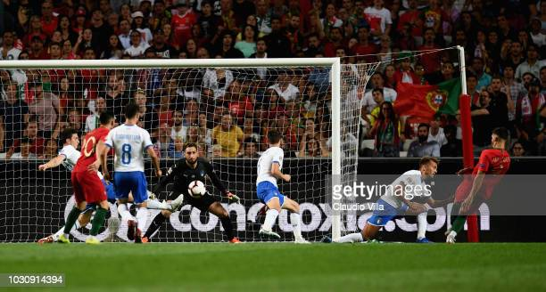 Andre Silva of Portugal scores a goal during the UEFA Nations League A group three match between Portugal and Italy at on September 10 2018 in Lisbon...