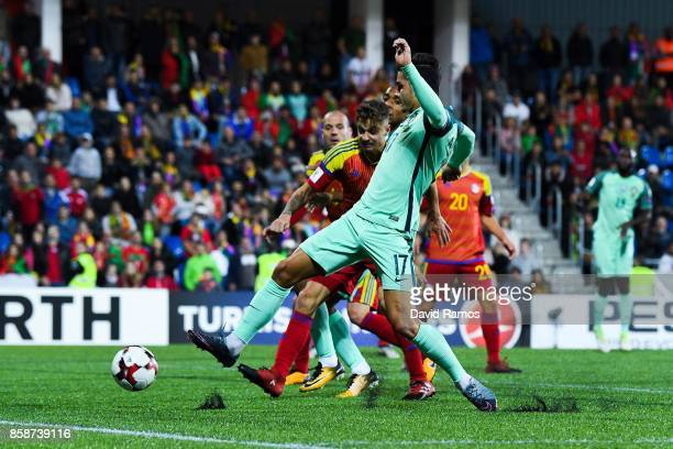Andre Silva of Portugal scores his team's second goal during the FIFA 2018 World Cup Qualifier between Andorra and Portugal at the Estadi Nacional on...