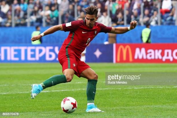 Andre Silva of Portugal shoots during the FIFA Confederations Cup Russia 2017 Group A match between New Zealand and Portugal at Saint Petersburg...