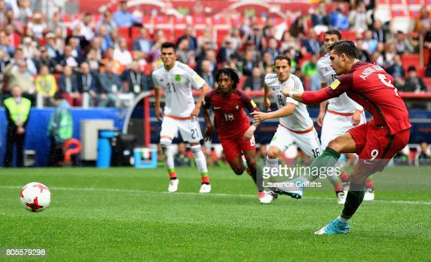 Andre Silva of Portugal takes a penalty but it is saved by Guillermo Ochoa of Mexico during the FIFA Confederations Cup Russia 2017 PlayOff for Third...