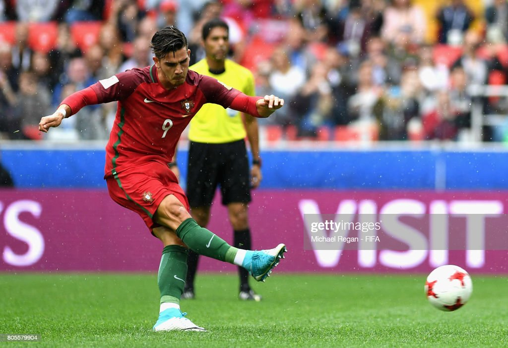 Andre Silva of Portugal takes a penalty but it is saved by Guillermo Ochoa of Mexico during the FIFA Confederations Cup Russia 2017 Play-Off for Third Place between Portugal and Mexico at Spartak Stadium on July 2, 2017 in Moscow, Russia.