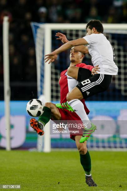 Andre Silva of Portugal Tarek Hamed of Egypt during the International Friendly match between Egypt v Portugal at the Letzigrund Stadium on March 23...