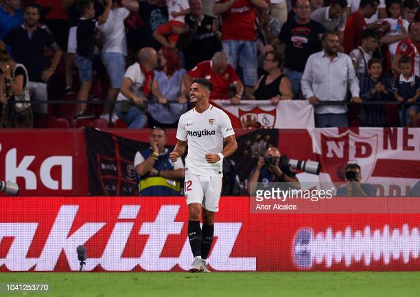 Andre Silva of Sevilla FC celebrates after scoring goal during the La Liga match between Sevilla FC and Real Madrid CF at Estadio Ramon Sanchez...