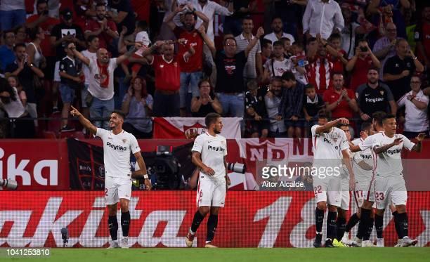 Andre Silva of Sevilla FC celebrates after scoring goal during the La Liga match between Sevilla FC and Real Madrid CF at Estadio Ramon Sanchez...