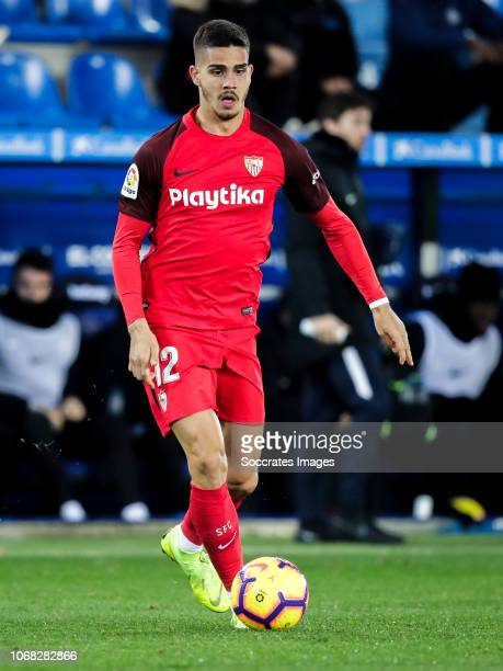 Andre Silva of Sevilla FC during the La Liga Santander match between Deportivo Alaves v Sevilla at the Estadio de Mendizorroza on December 2 2018 in...