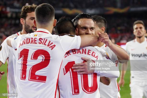 Andre Silva of Sevilla FC Ever Banega of Sevilla FC Roque Mesa of Sevilla FC during the UEFA Europa League match between Sevilla v Krasnodar at the...