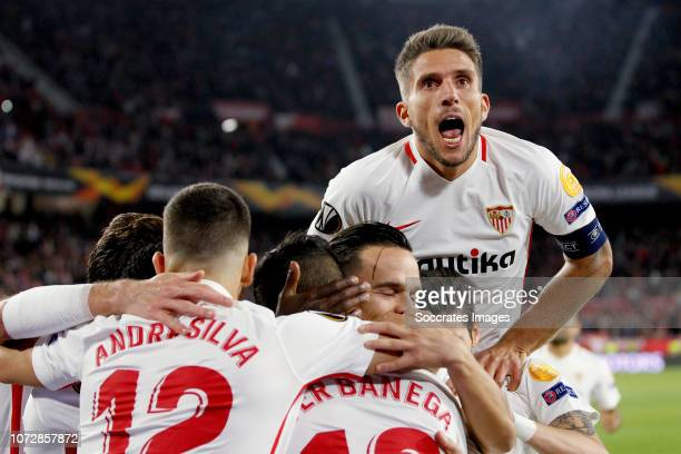 Andre Silva of Sevilla FC Ever Banega of Sevilla FC Roque Mesa of Sevilla FC Daniel Carrico of Sevilla FC during the UEFA Europa League match between...