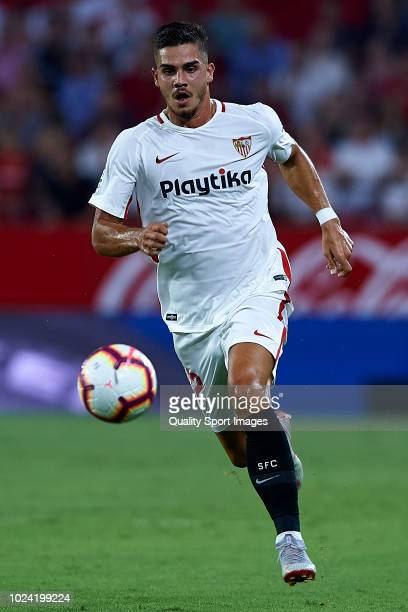 Andre Silva of Sevilla FC in action during the La Liga match between Sevilla FC and Villarreal CF at Estadio Ramon Sanchez Pizjuan on August 26 2018...