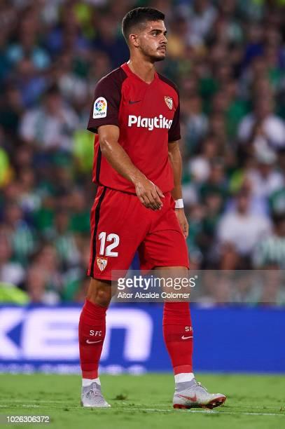 Andre Silva of Sevilla FC looks on during the La Liga match between Real Betis Balompie and Sevilla FC at Estadio Benito Villamarin on September 2...