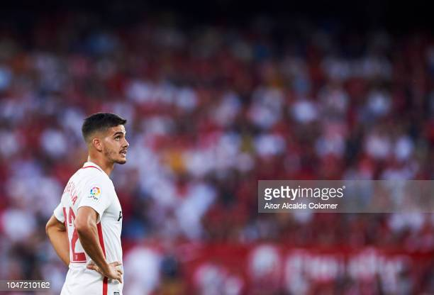 Andre Silva of Sevilla FC reacts during the La Liga match between Sevilla FC and RC Celta de Vigo at Estadio Ramon Sanchez Pizjuan on October 7 2018...