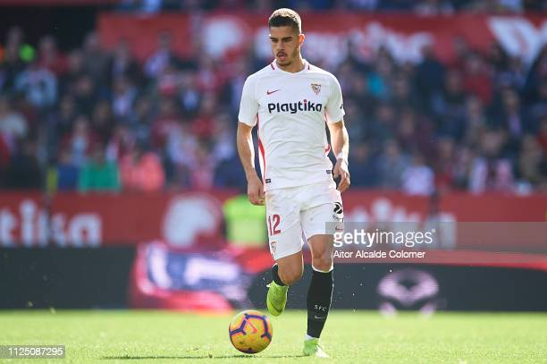 Andre Silva of Sevilla FC runs with the ball during the La Liga match between Sevilla FC and Levante UD at Estadio Ramon Sanchez Pizjuan on January...