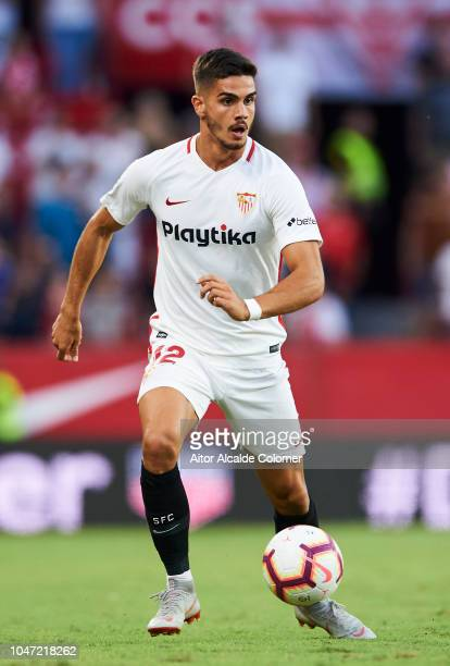Andre Silva of Sevilla FCin action during the La Liga match between Sevilla FC and RC Celta de Vigo at Estadio Ramon Sanchez Pizjuan on October 7...