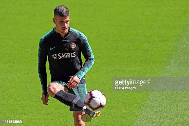 Andre Silva of the Portuguese national football team seen in action during the Euro 2020 Qualifying Group B Group Stage football training and press...