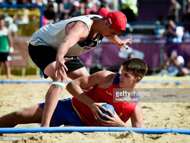 Andre Sousa of Portugal fights for the ball with Domingo Mosquera Sergioduring day 7 of Buenos Aires 2018 Youth Olympic Games at Green Park on...
