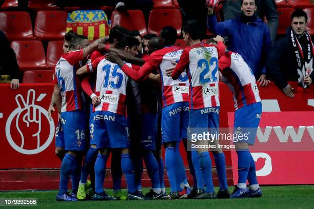 Andre Sousa of Sporting Gijon Canella of Sporting Gijon Isaac Cofie of Sporting Gijon Pablo Perez of Sporting Gijon celebrate goal during the Spanish...
