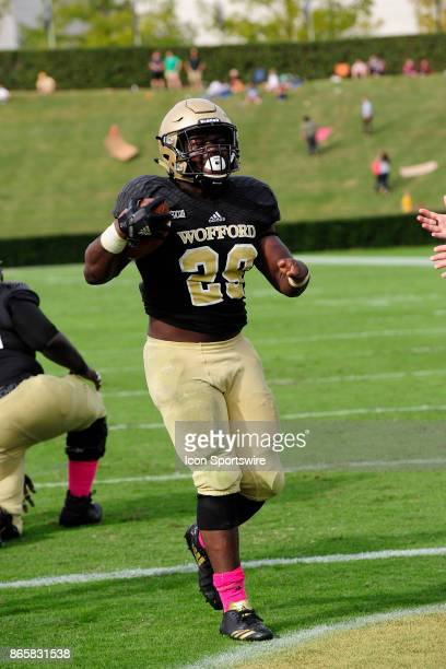 Andre Stoddard fullback Wofford College Terriers walks into the end zone for a touchdown in the Southern Conference game against the Samford...