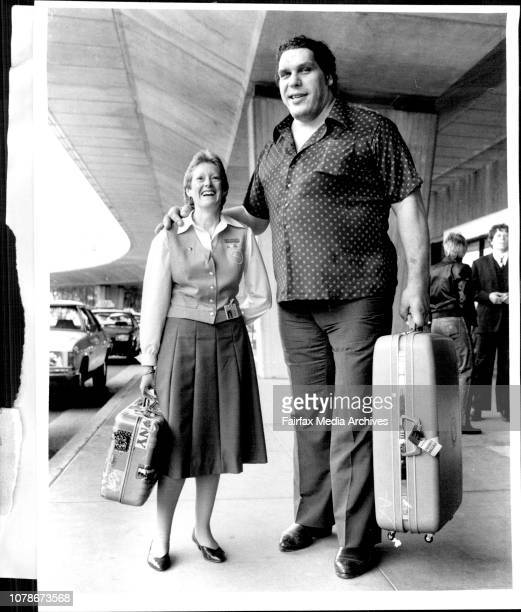 Andre The Giant' 7 foot 4 inches 475lbs returned to the Sydney this morning for some Wrestling engagement in Sydney and near country clubsQantas...