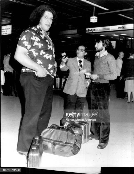 Andre The Giant 7'5' tall and 500 lbs Arrived in Sydney this morning for a match against 'Goliath' 7'0' tall and over 500lbs at Flemington market...