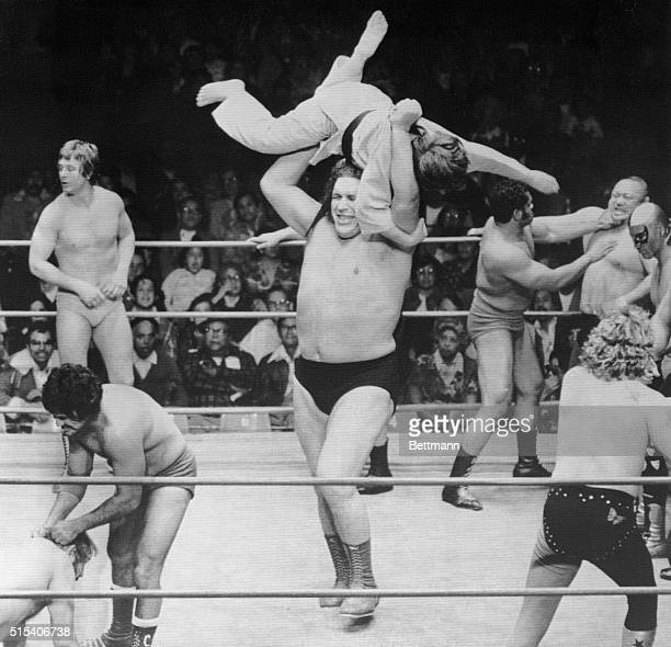 Andre the Giant has little trouble eliminating Mike Adams from competition in the World Battle Royal wrestling match Moments after Adam was...