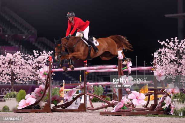 Andre Thieme of Team Germany riding DSP Chakaria competes in the Jumping Team Final at Equestrian Park on August 07, 2021 in Tokyo, Japan.