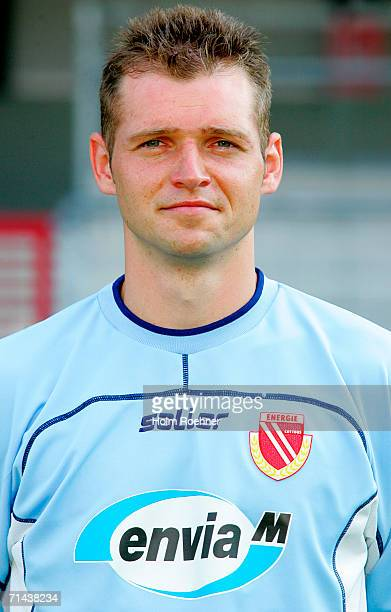 COTTBUS GERMANY Andre Thoms poses during the Bundesliga 1st Team Presentation of Energie Cottbus at the Stadium der Freundschaft on July 13 2006 in...