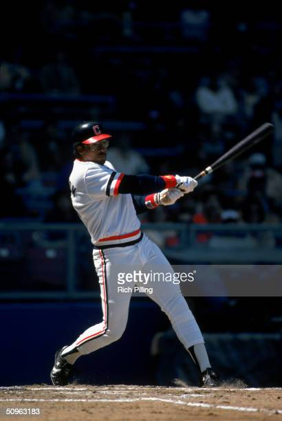 Andre Thornton of the Cleveland Indians bats during a game circa May 1984 at Cleveland Stadium in Cleveland Ohio Andre Thornton played for the...