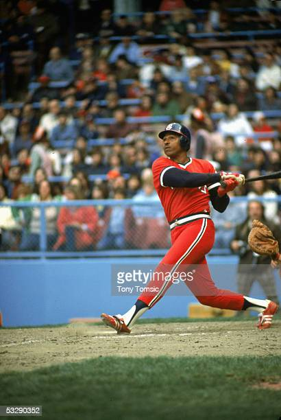 Andre Thornton of the Cleveland Indians bats during an MLB game at Cleveland Municipal Stadium in Cleveland Ohio